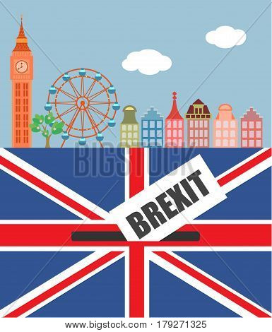 Brexit in the UK. Panorama of London with Big Ben British flag and the symbol of the ballot box. Vector illustration.