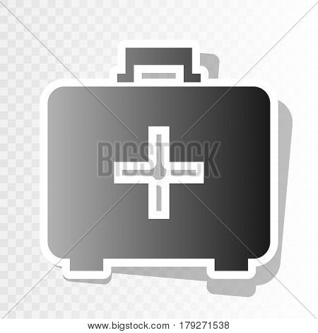 Medical First aid box sign. Vector. New year blackish icon on transparent background with transition.