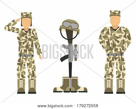 Memorial battlefield cross american honor symbol of a fallen US soldier characters modern war rifle M16 with boots and helmet vector illustration. Special grave reminder veteran man and woman.
