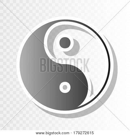 Ying yang symbol of harmony and balance. Vector. New year blackish icon on transparent background with transition.