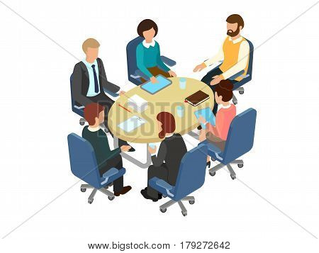 Сonversation at the round table in the office. Business brainstorming 3d concept. Isometric vector illustration.