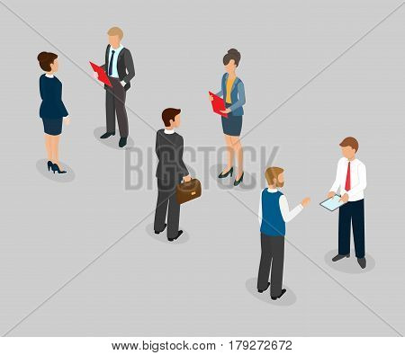 Business talk conversation at the office dialogue between the boss and the subordinate. Isometric 3d vector illustration.