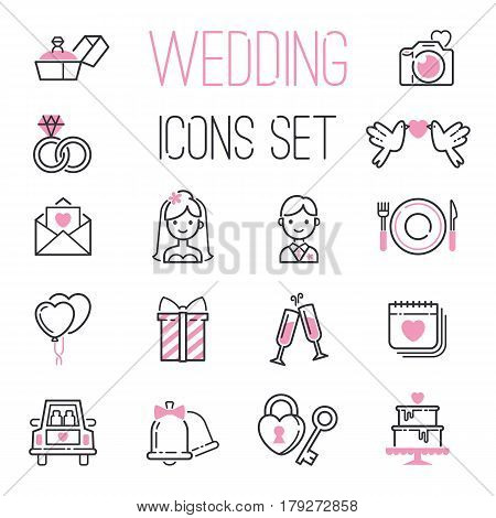 Outline wedding day black and pink marriage icons set of icons for engagement get married love and romantic event bride groom heart vector illustration. Romantic envelope pictogram celebration.
