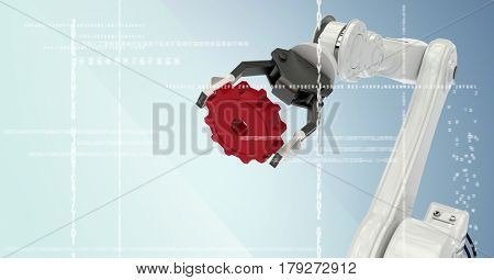 Digital composite of White robot claw holding red cog behind white interface against blue background