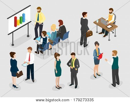Business people lifestyle. Coaching and mentoring concept. Сommunicating people at the office. 3d isometric concept.