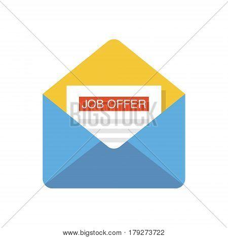 Open envelope with Job offer message. Flat design vector illustration.