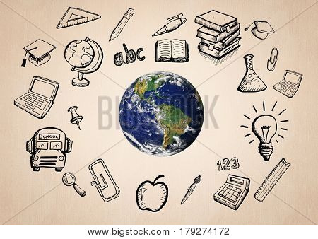 Digital composite of World with educatoin icon drawings agaisnt beige background