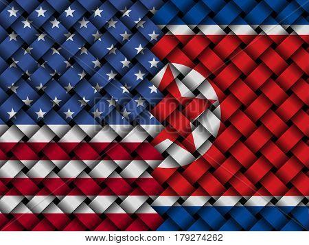 USA North Korean interwoven flags 3d illustration