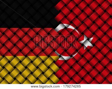 Turkey Germany interwoven flags 3d illustration