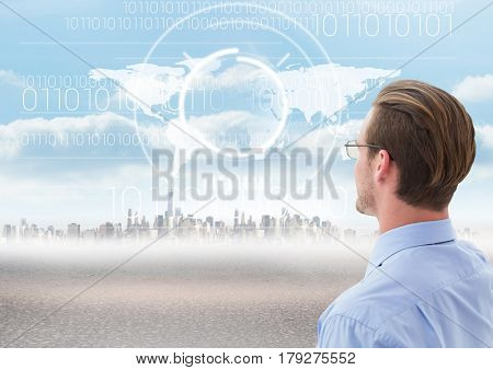 Digital composite of Businessman looking at City with world map
