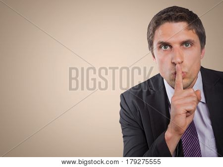 Digital composite of Business man finger over mouth against cream background