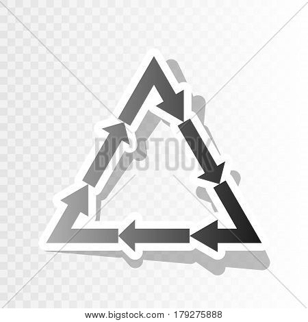 Plastic recycling symbol PVC 3 , Plastic recycling code PVC 3. Vector. New year blackish icon on transparent background with transition.