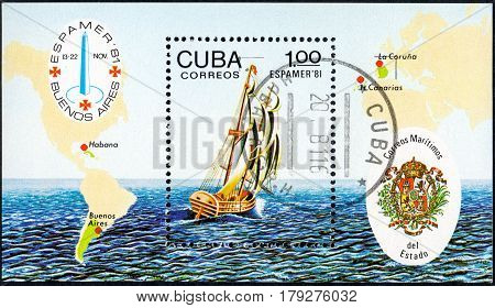 UKRAINE - CIRCA 2017: A postage stamp printed in Cuba shows Espamer '81 Stamp Exhibition Buenos Aires circa 1981