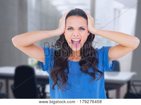 Digital composite of Stressed woman in office
