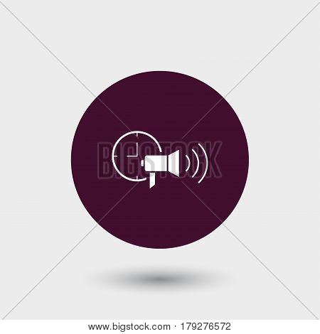 Loudspeaker with clock icon simple time commenication sign vector illustration