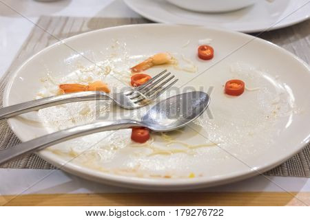 Empty white plate dirty after the meal is finished