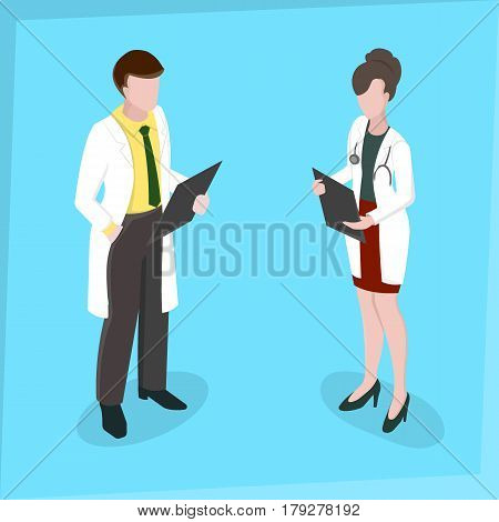Medical staff Man and woman Medical examination Doctors meeting Isometric 3d disign Vector illustration