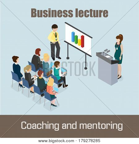 Business lecture Coaching and Mentoring concept 3d infografic isometric vector illustration