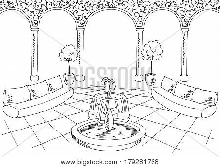 Hall graphic black white interior sketch illustration vector