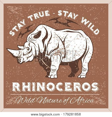 Vector Stylized Rhino in Vintage Style for Logotype, Label, Badge, T-shirts and other Design. Artistic Silhouette wild animal.