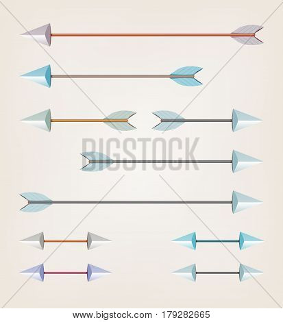 Illustration of a set of various arrows for bow sport easily scalable and with various tints