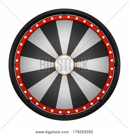3d illustration of lucky spin represent the wheel of fortune concept. Three dimensional wheel graphic for use in game or sale promotion.