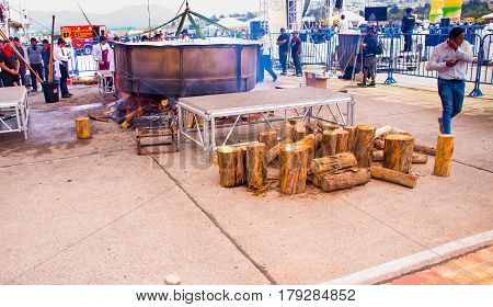 Quito, Ecuador - March 5, 2017: Preparation for the Locro Fest, an event where the biggest locro soup is prepared and served to obtain a Guinness world record.
