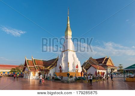 SAKON NAKHON- OCTOBER 24: Wat Pratat Choeng Chum It is a major temple and sacred religious monument on October 24 2015 in Sakon Nakhon ProvinceThailand