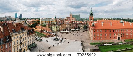 Panoramic view of Stare Miasto in Warsaw Old town in Poland. Vew drom above