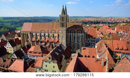 St. James church in Rothenburg ob der Tauber in Bavaria, Germany. It serves as a church on the pilgrimage route to St. James Church in Santiago de Compostela in Spain
