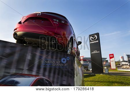 Prague, Czech Republic - March 31: Mazda 3 Car In Front Of Dealership Building On March 31, 2017 In