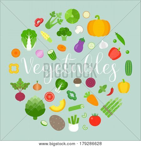 Vegetables arrange in circle shape design for banner, backdrop