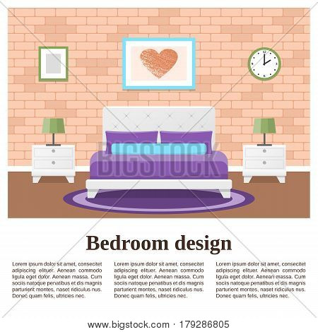 Bedroom interior. Vector flat room with place for text. House design background including furniture brick wall and carpet. Banner with typography Lorem ipsum.