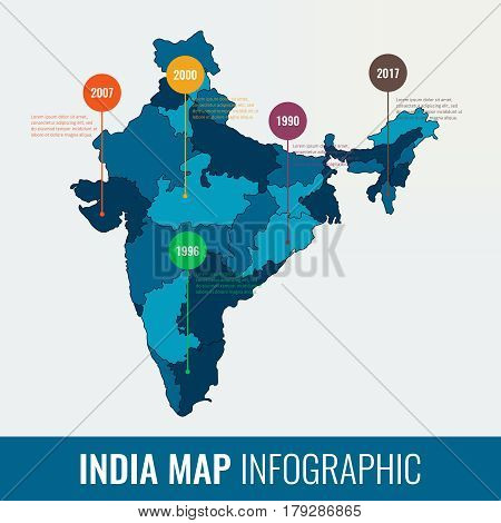 India map infographic template. All regions are selectable. Vector illustration