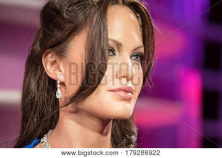 Bangkok -jan 29: A Waxwork Of Angelina Jolie On Display At Madame Tussauds On January 29, 2016 In Ba