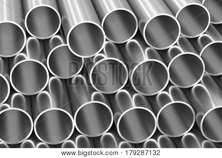 Many Steel Pipes Industrial Background