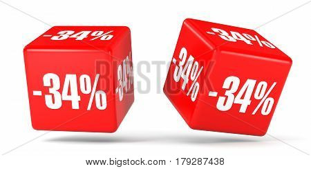 Thirty Four Percent Off. Discount 34 %. Red Cubes.