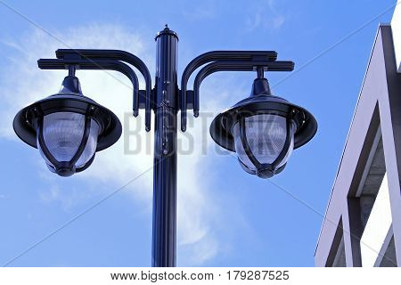 City Lightpost with Two Hanging Street Lights