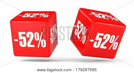 Fifty Two Percent Off. Discount 52 %. Red Cubes.