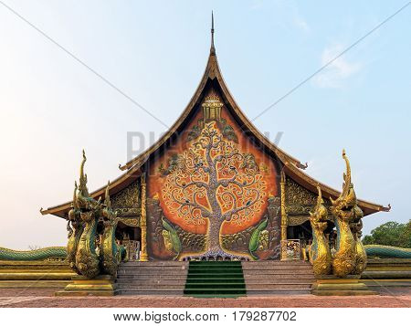 Temple Sirindhorn Wararam Phuproud In Ubon Ratchathani Province With Sunset Sky, Thailand.the Public