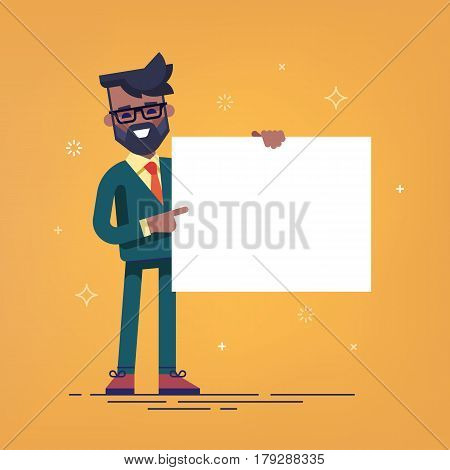 African american manager with beard in formal suit holding a blank sheet and pointing by index finger to it. Template for your text. Cartoon character. Stock vector illustration in flat design.