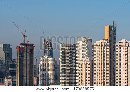 Aerial view of modern high rise office buildings condominium at business area in big city downtown