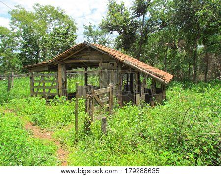 Curral de uma fazenda antiga em Goiás