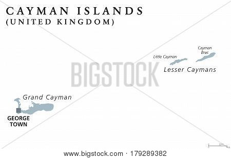 Cayman Islands political map with capital George Town. British Overseas Territory. Three islands in the western Caribbean Sea. Gray illustration isolated on white background. English labeling. Vector.