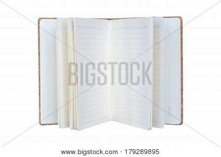 Vintage diary book opening isolate on white background, diary book for writing,reading and education concept