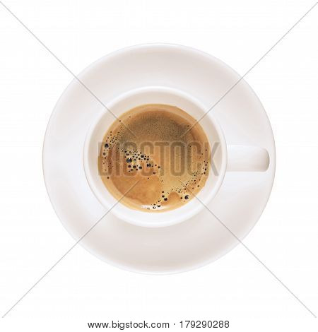 Top view of Coffee Cup and saucer isolated on white background.