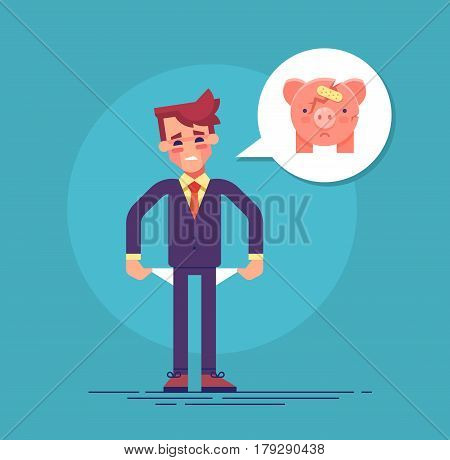 Frustrated pained businessman turns out his empty pockets. Broken money box icon. Modern flat vector illustration
