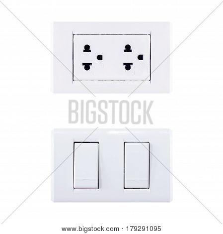 White plugs and power switch on white background.
