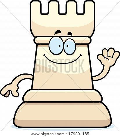 Cartoon Chess Rook Waving