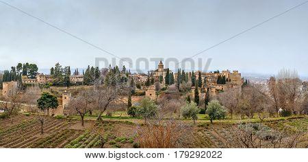 Panoramic view of Alhambra from Generalife gardens Granada Spain